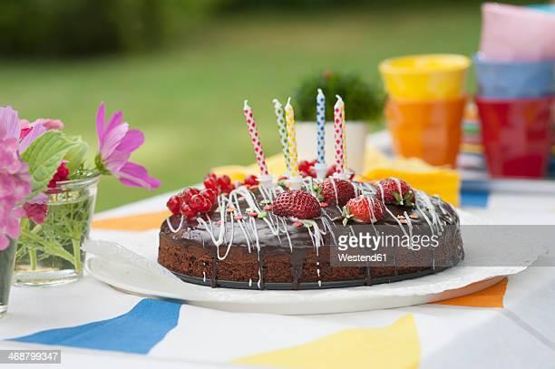 Birthday cake on garden table