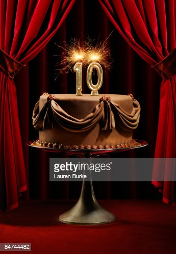 Birthday Cake On Stage With Number 10 Candles High Res