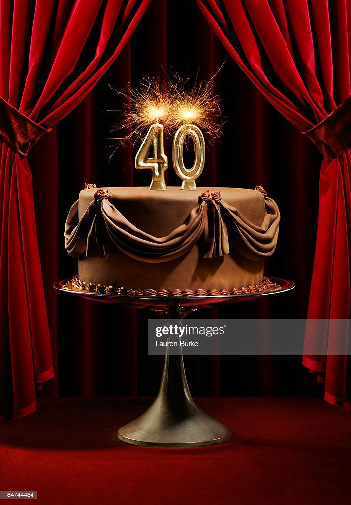 Birthday Cake On Stage With Number 40 Candles Stock Photo Getty Images