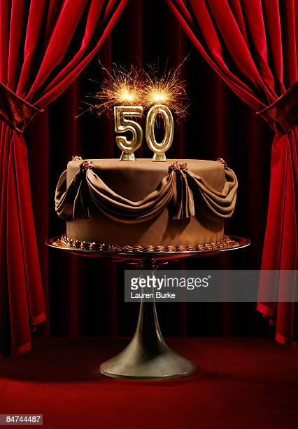 BIrthday Cake on Stage with number 50 candles