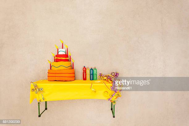 Birthday cake on table