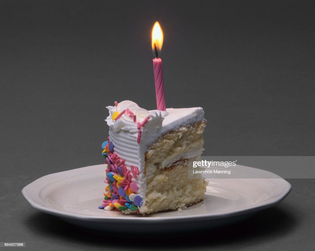 Birthday Cake Slice Stock Photo Getty Images