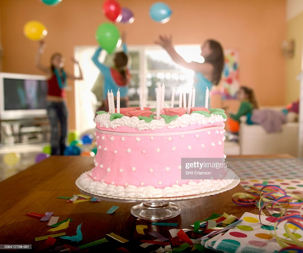 Enjoyable Birthday Cake Teenage Girls In Background High Res Stock Photo Birthday Cards Printable Opercafe Filternl
