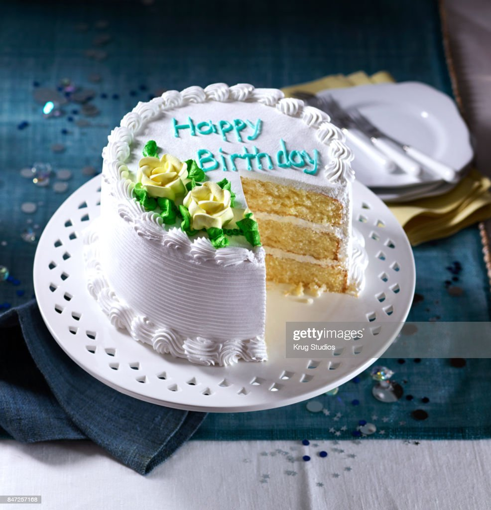 Birthday Cake With A Slice Removed Stock Photo Getty Images
