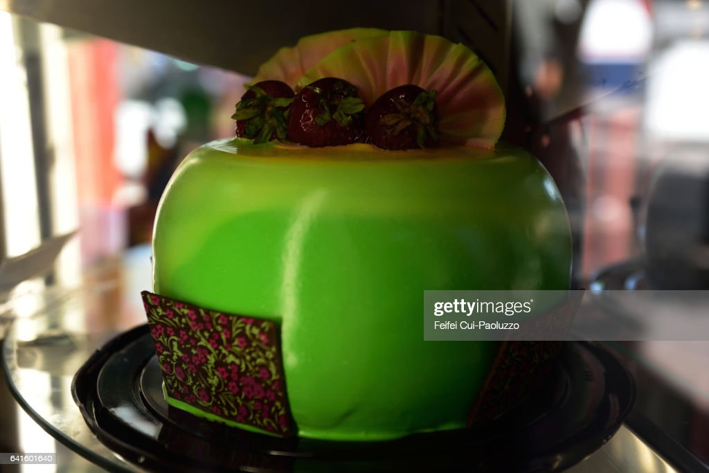 Birthday Cake With A Apple Shape At Downtown Santiago In Chile Stock