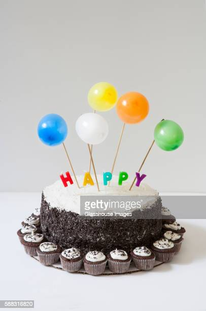 Birthday Cake with Balloons and Mini-Cupcakes