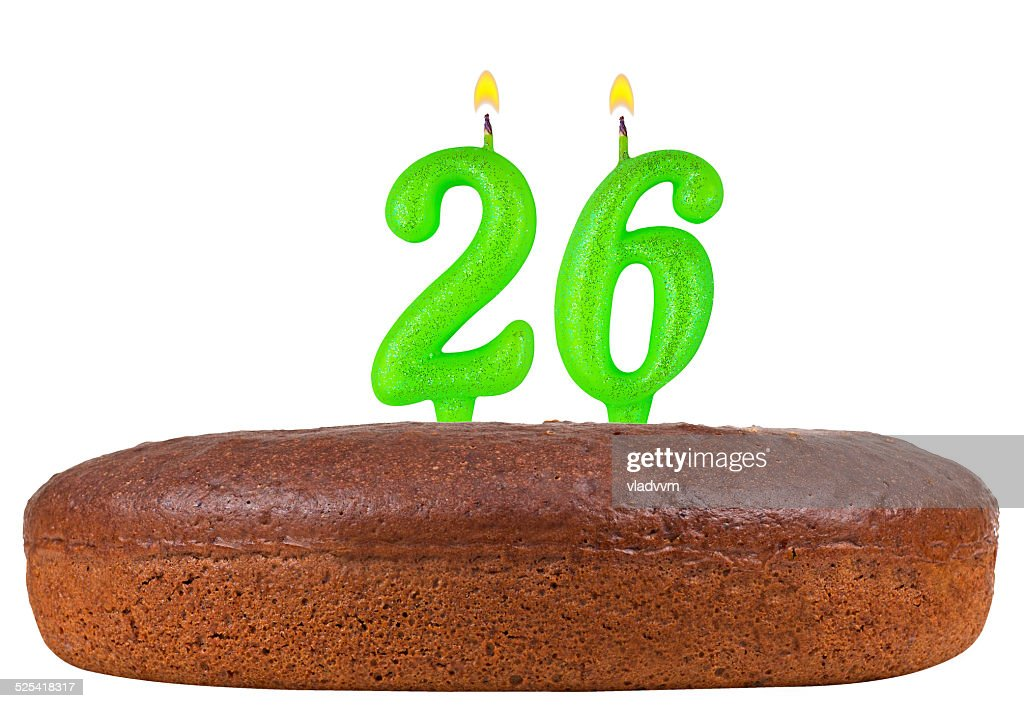 Birthday Cake With Candles Number 26 Isolated Stock Photo Getty Images