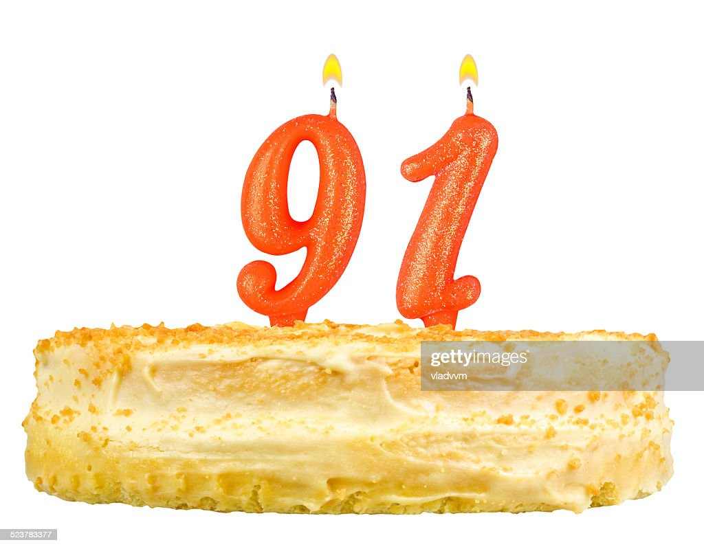 Birthday Cake With Candles Number Ninety One Isolated On White Stock