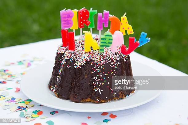 Birthday cake with candles on garden table