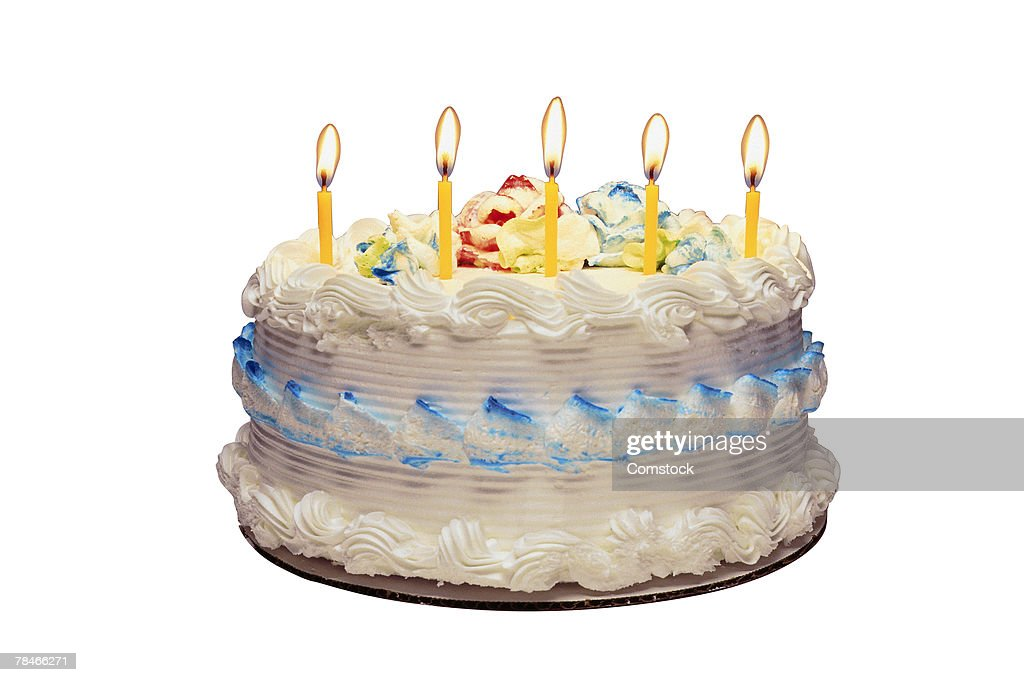 Birthday cake with candles : Foto de stock