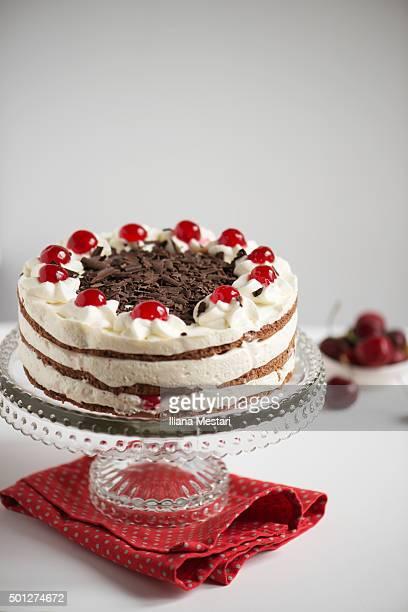 Birthday cake with cherries