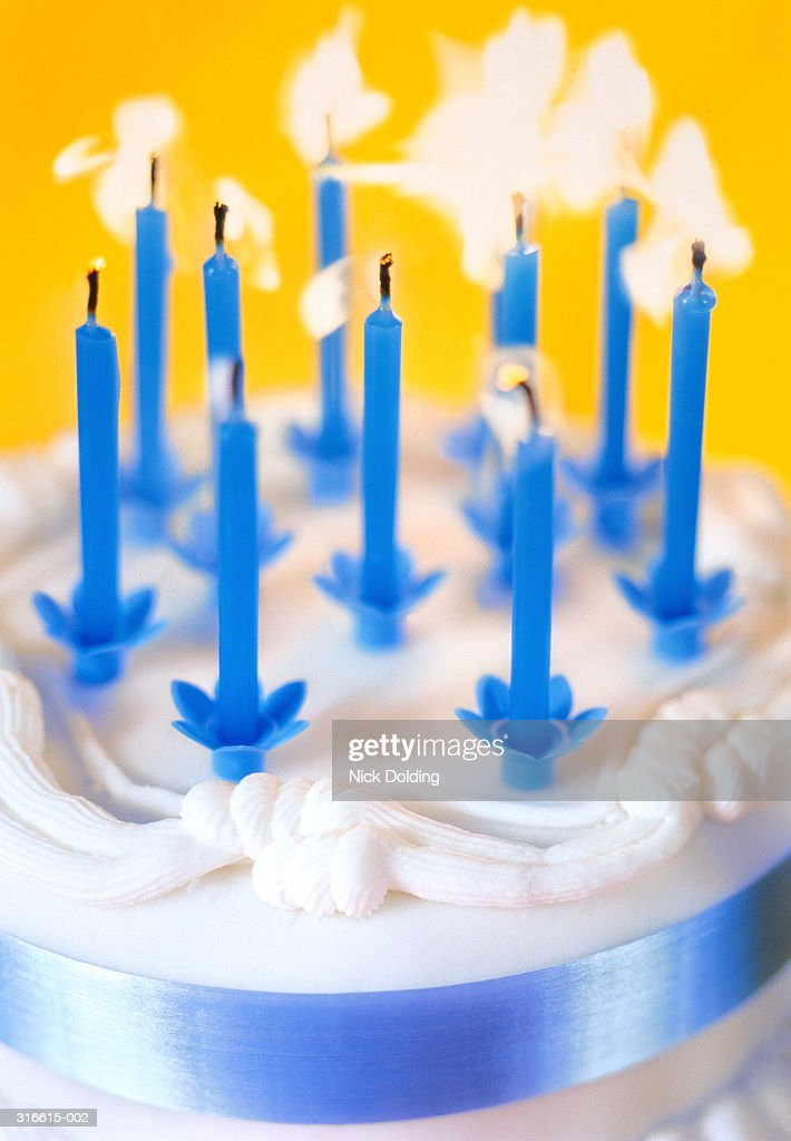 Birthday Cake With Eleven Candles Close Up Stock Photo