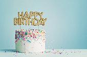 Birthday cake with happy birthday banner