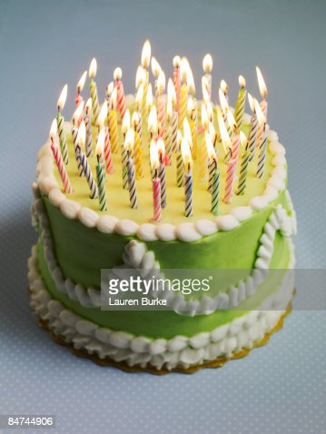 Birthday Cake With Many Candles High Res Stock Photo