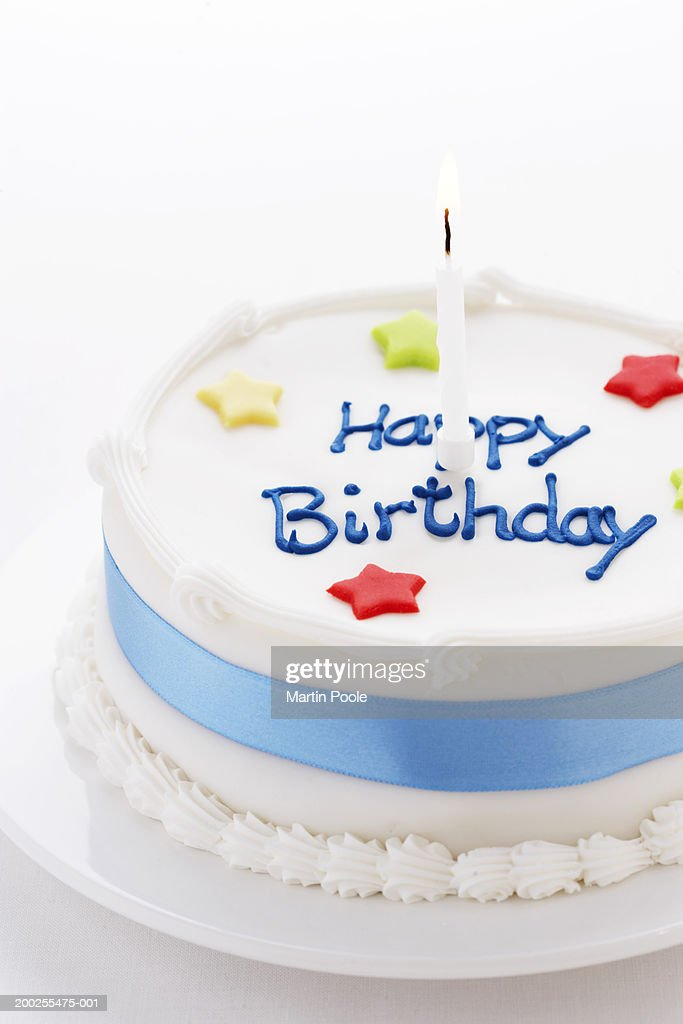 Birthday Cake With One Candle Close Up Stock Foto