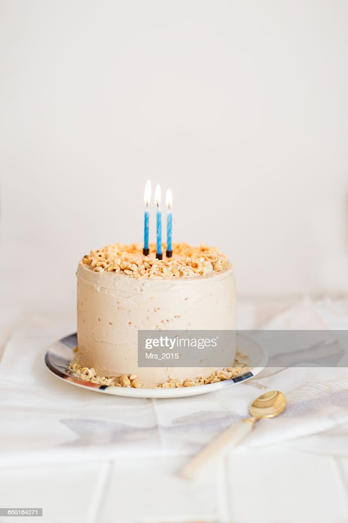 Birthday Cake With Three Candles Stock Foto