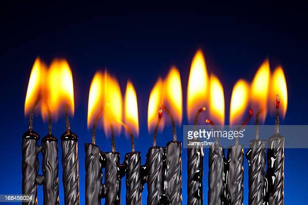 Birthday Candles Melting, Burning Down