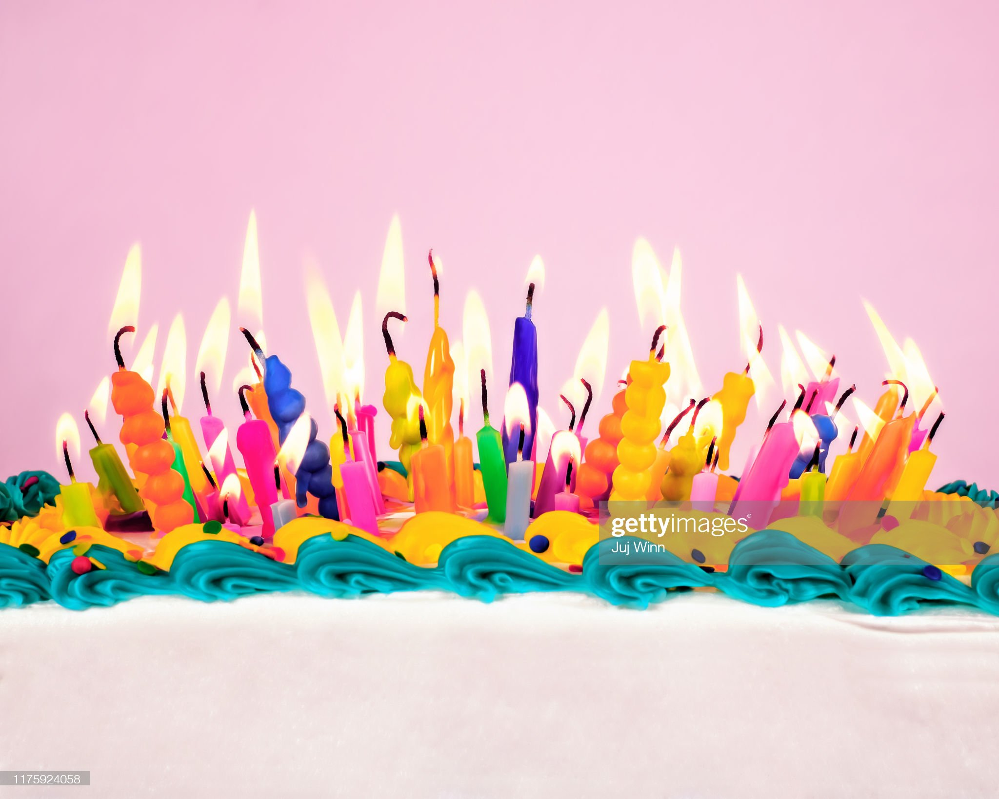 Birthday candles on a cake : Stock Photo