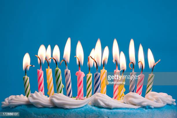 birthday candles - birthday cake stock photos and pictures