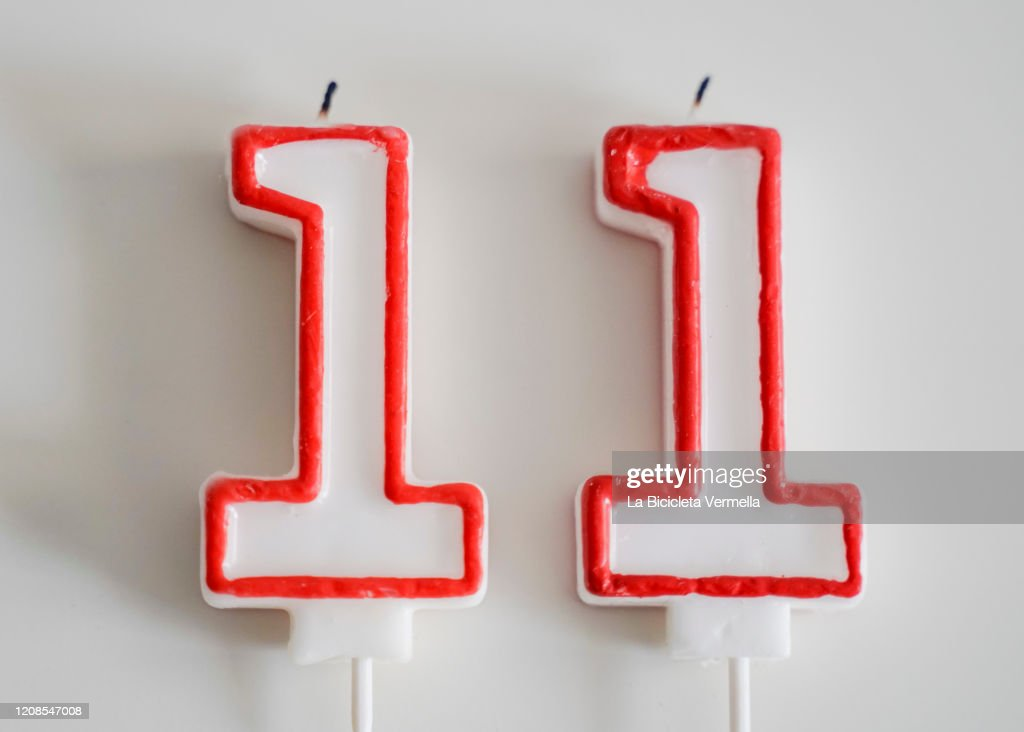 Birthday candles with number eleven : ストックフォト