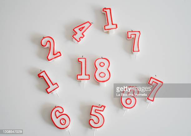 birthday candles with numbers - birthday candle stock pictures, royalty-free photos & images