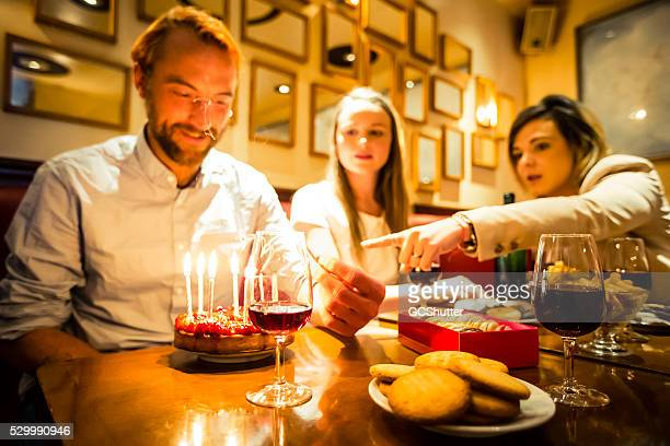 Birthday celebration at a cafe