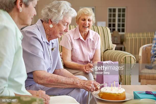 Birthday celebration in retirement home