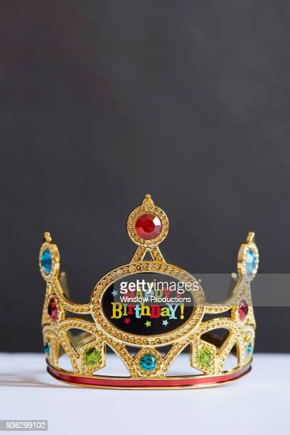 birthday crown with colorful fake gems - happybirthdaycrown stock pictures, royalty-free photos & images