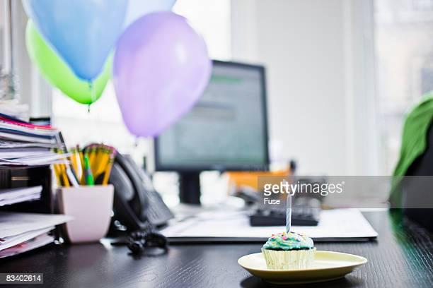 Birthday Cupcake on a Desk