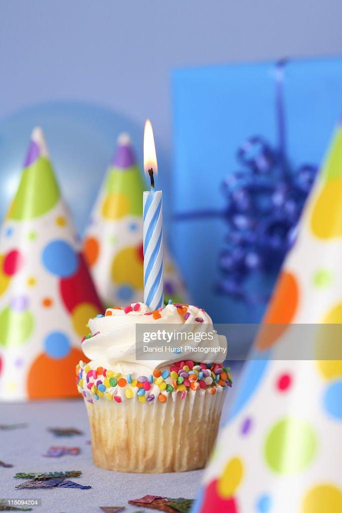 Birthday cupcake : Stock Photo