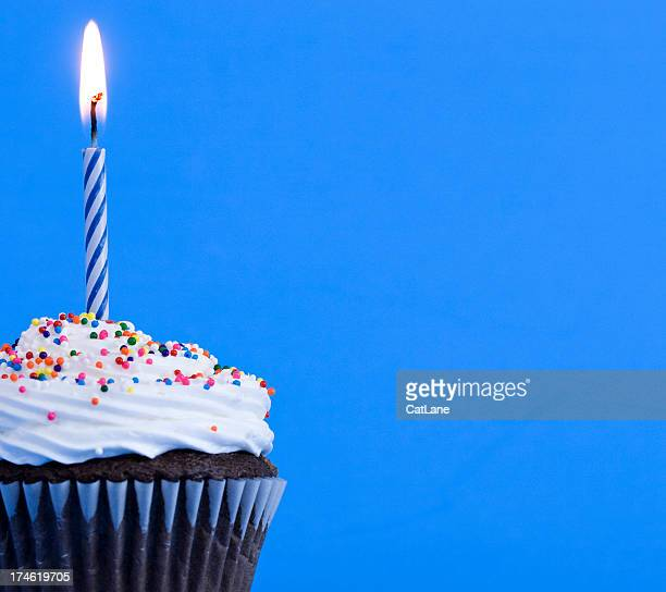 birthday cupcake - birthday candles stock photos and pictures