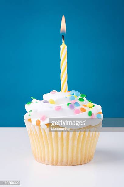 Birthday cupcake with white icing and sprinkles and candle