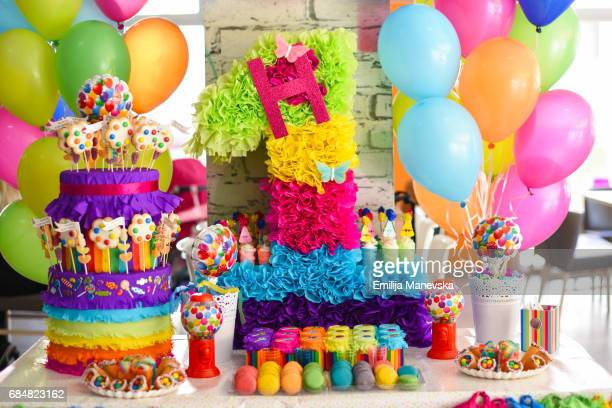 Birthday decoration. Colorful candy, sweets and balloons