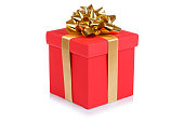 Birthday gift christmas present red box isolated on white
