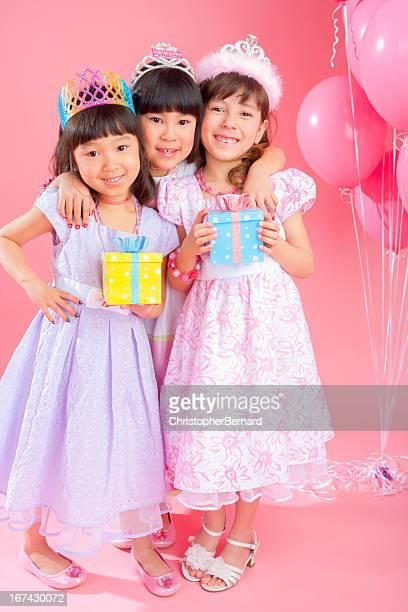 Birthday girl celebrating with friends