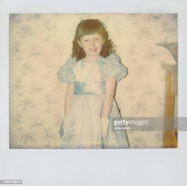 birthday girl: little girl wearing party dress, 1980s kid - 1980 1989 stock pictures, royalty-free photos & images