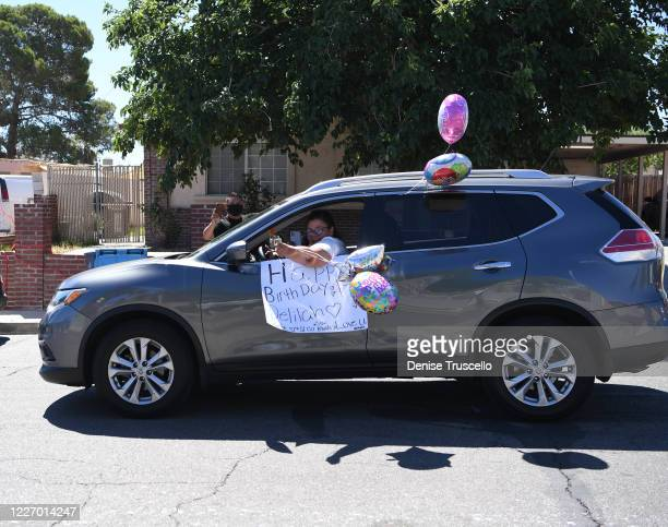 Birthday parade for Delilah Juarez hosted by Tyler Robinson Foundation in front of her home on May 25 2020 in Las Vegas Nevada
