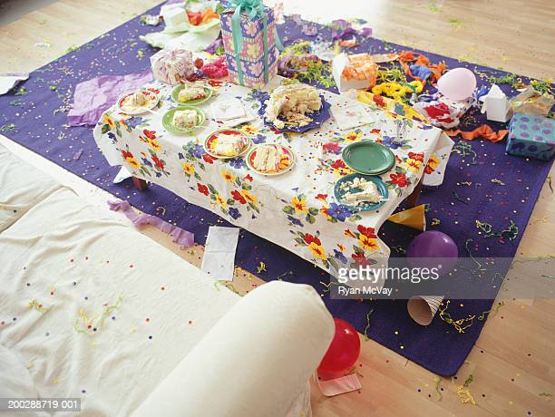 birthday party aftermath, elevated view - morning after party stock pictures, royalty-free photos & images