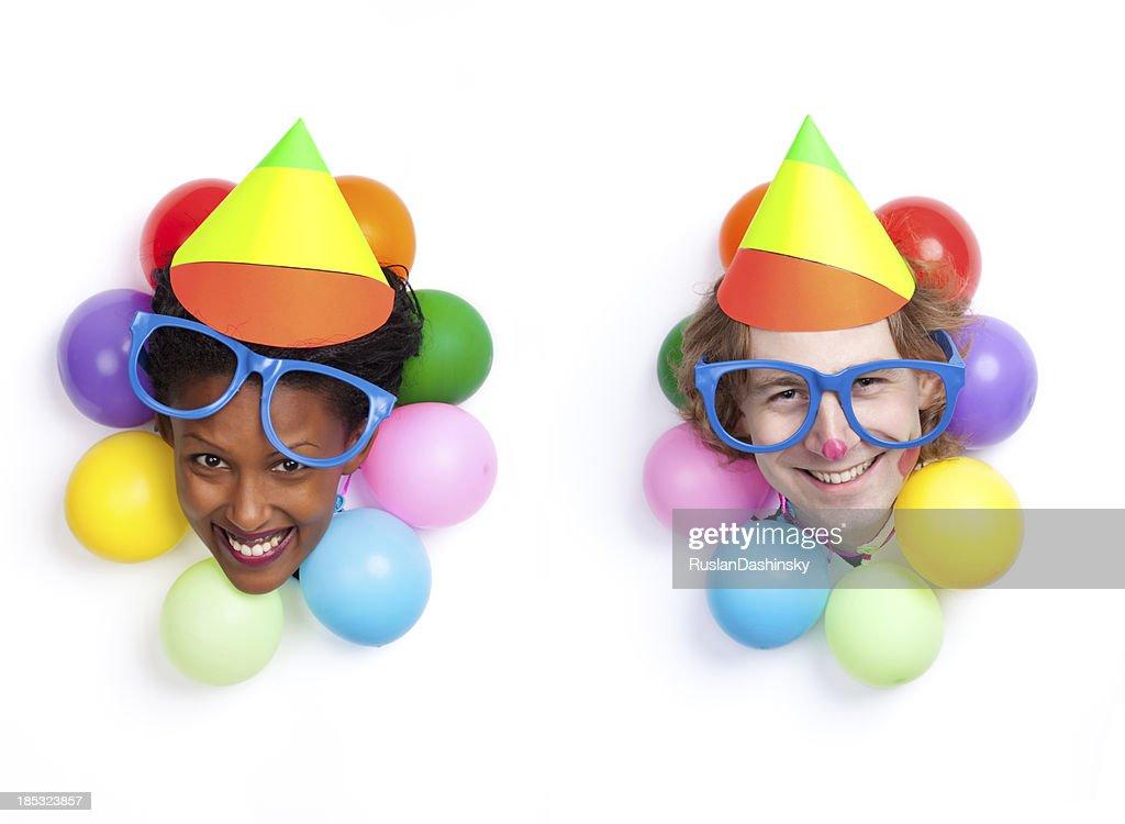 Birthday / party couple clown entertainment. : Stock Photo