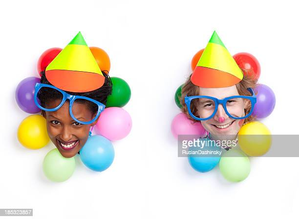 birthday / party couple clown entertainment. - happy clown faces stock photos and pictures