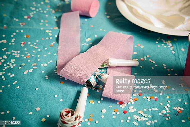 Birthday party decorations and confetti