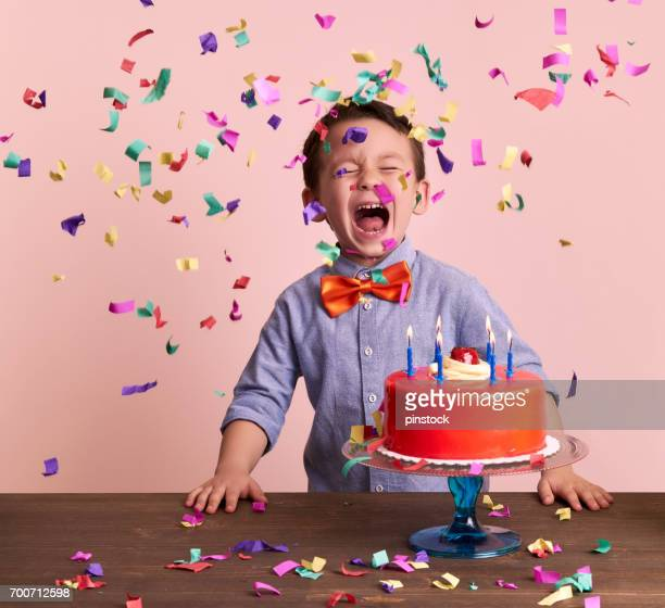 birthday party for cute child. - birthday cake stock photos and pictures