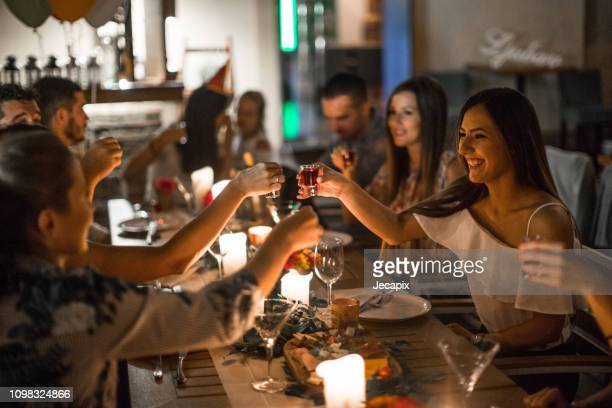 birthday party fun - dinner party stock pictures, royalty-free photos & images