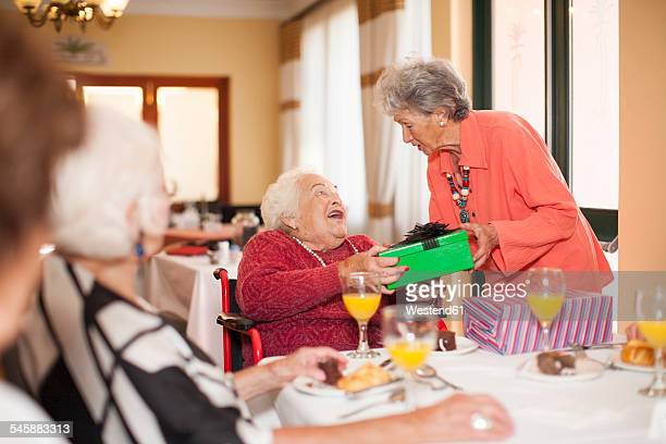 Birthday party in a retirement village