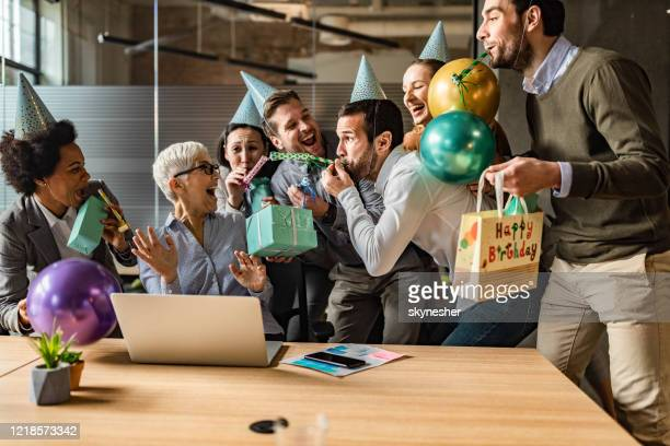 birthday party in the office! - work party stock pictures, royalty-free photos & images