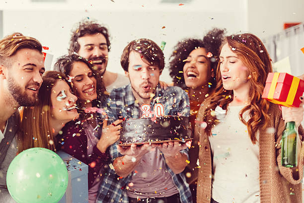 birthday party in the office - best friend birthday cake stock pictures, royalty-free photos & images
