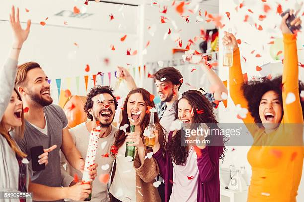 birthday party in the office - celebration stock pictures, royalty-free photos & images