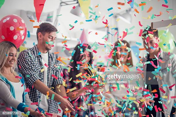 birthday party in the office - work party stock pictures, royalty-free photos & images