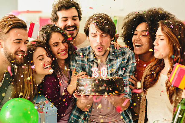 30 birthday party - best friend birthday cake stock pictures, royalty-free photos & images