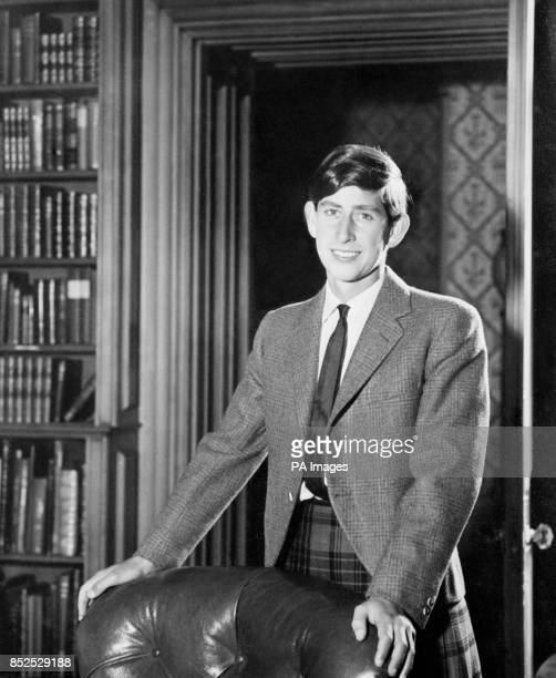 A birthday portrait of Prince Charles Prince of Wales who turns 18 today It was taken in the library at Balmoral Castle and the Prince is wearing the...